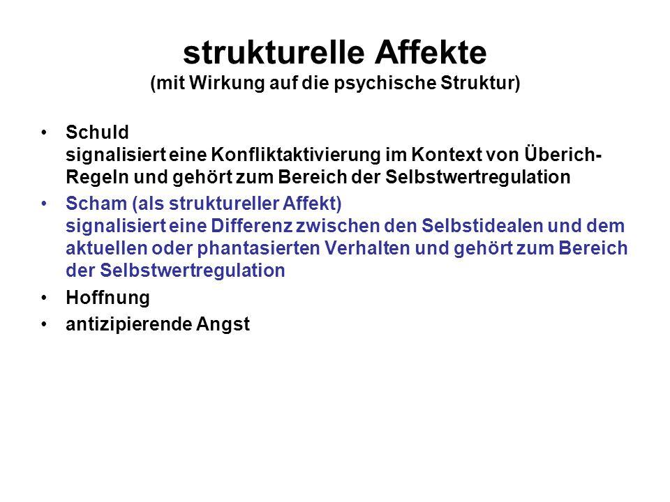strukturelle Affekte (mit Wirkung auf die psychische Struktur) Schuld signalisiert eine Konfliktaktivierung im Kontext von Überich- Regeln und gehört