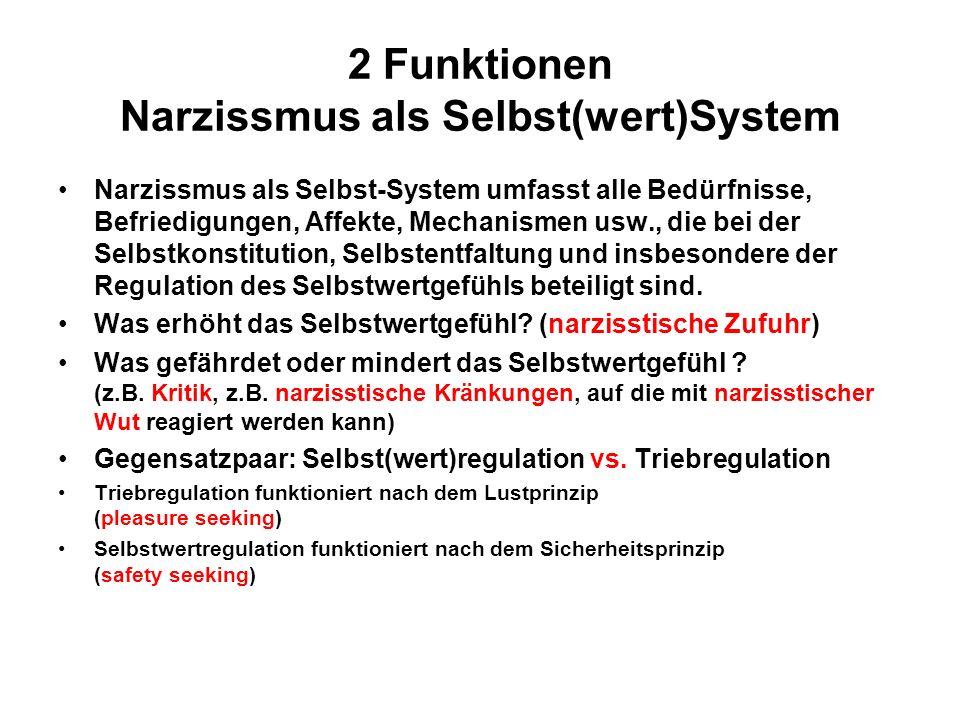 2 Funktionen Narzissmus als Selbst(wert)System Narzissmus als Selbst-System umfasst alle Bedürfnisse, Befriedigungen, Affekte, Mechanismen usw., die bei der Selbstkonstitution, Selbstentfaltung und insbesondere der Regulation des Selbstwertgefühls beteiligt sind.