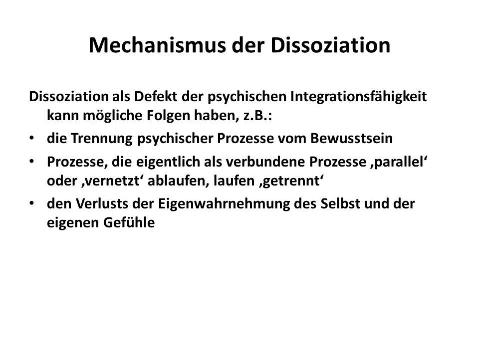 Mögliche Symptome von Dissoziationen Depersonalisation (Störung der Selbstwahrnehmung: sich fremd fühlen im eigenen Körper) Derealisation (die Realität wird als unwirklich empfunden) Dissoziative Amnesie (Fehlen wichtiger biographischer Erinnerungen) Konversionsstörung (Somatisierung psychischer Konflikte, somatoforme Dissoziation, Verschiebung z.B.