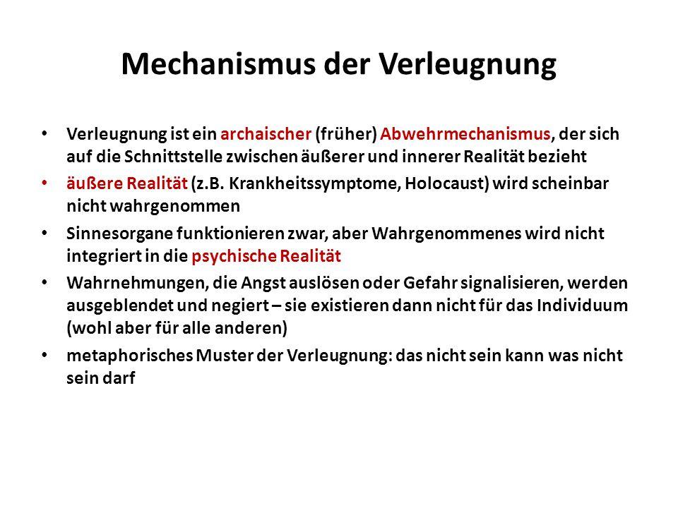 Mechanismus der Verleugnung Verleugnung ist ein archaischer (früher) Abwehrmechanismus, der sich auf die Schnittstelle zwischen äußerer und innerer Re