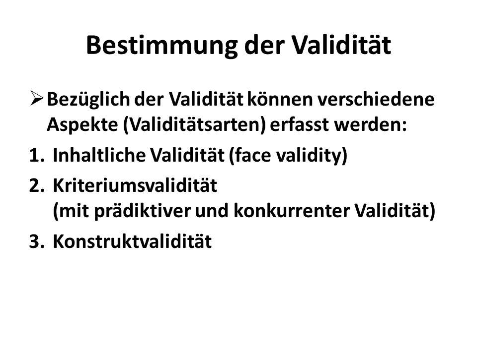 Bestimmung der Validität Bezüglich der Validität können verschiedene Aspekte (Validitätsarten) erfasst werden: 1.Inhaltliche Validität (face validity)