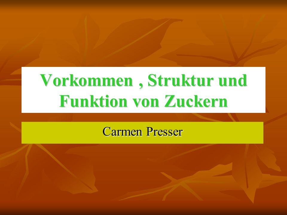 Carmen Presser Vorkommen, Struktur und Funktion von Zuckern