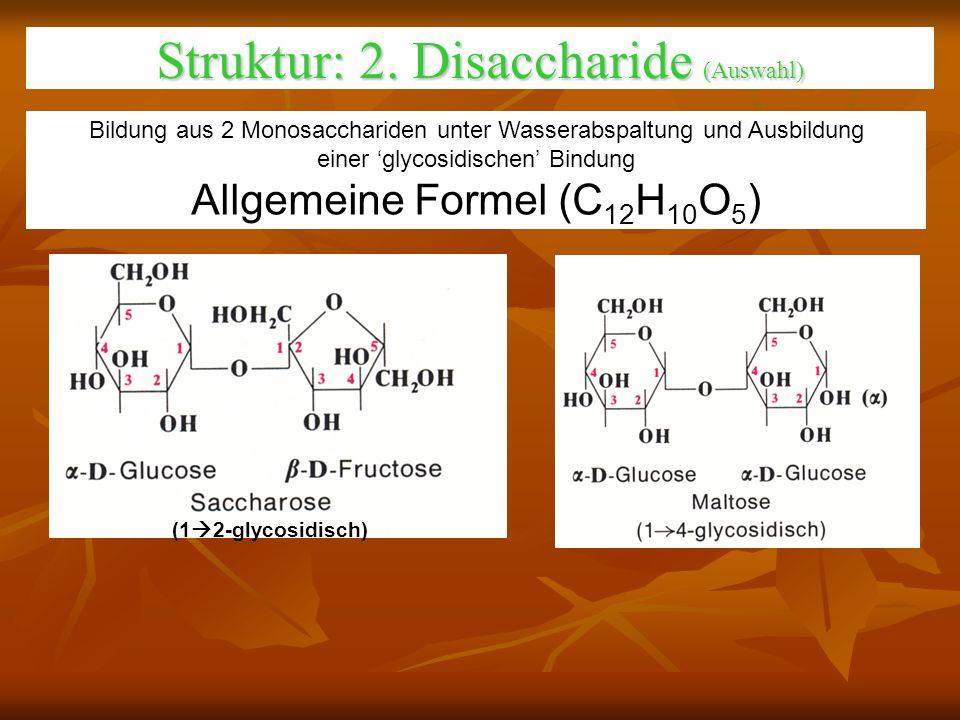 Struktur: 2. Disaccharide (Auswahl) (1 2-glycosidisch) Bildung aus 2 Monosacchariden unter Wasserabspaltung und Ausbildung einer glycosidischen Bindun