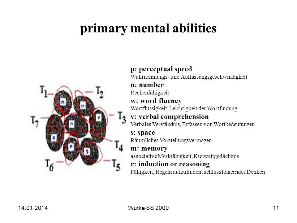primary mental abilities p: perceptual speed Wahrnehmungs- und Auffassungsgeschwindigkeit n: number Rechenfähigkeit w: word fluency Wortflüssigkeit, L