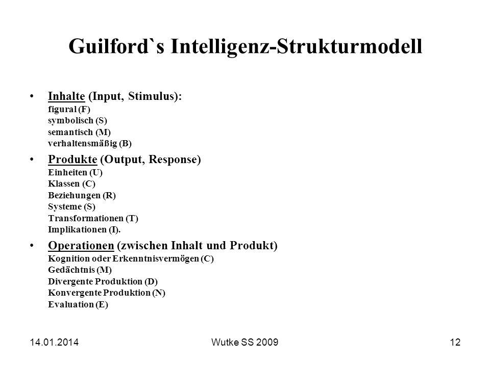 Guilford`s Intelligenz-Strukturmodell Inhalte (Input, Stimulus): figural (F) symbolisch (S) semantisch (M) verhaltensmäßig (B) Produkte (Output, Respo