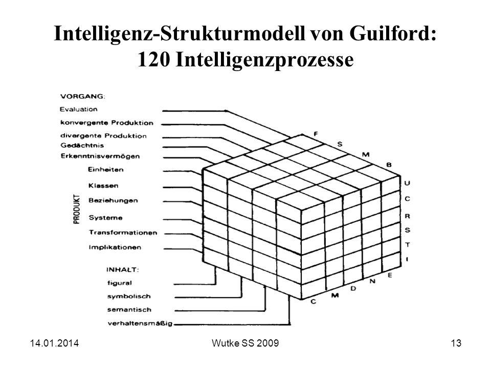 Intelligenz-Strukturmodell von Guilford: 120 Intelligenzprozesse 14.01.201413Wutke SS 2009