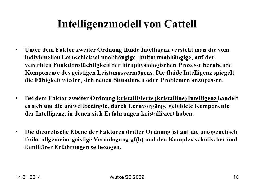 Intelligenzmodell von Cattell Unter dem Faktor zweiter Ordnung fluide Intelligenz versteht man die vom individuellen Lernschicksal unabhängige, kultur