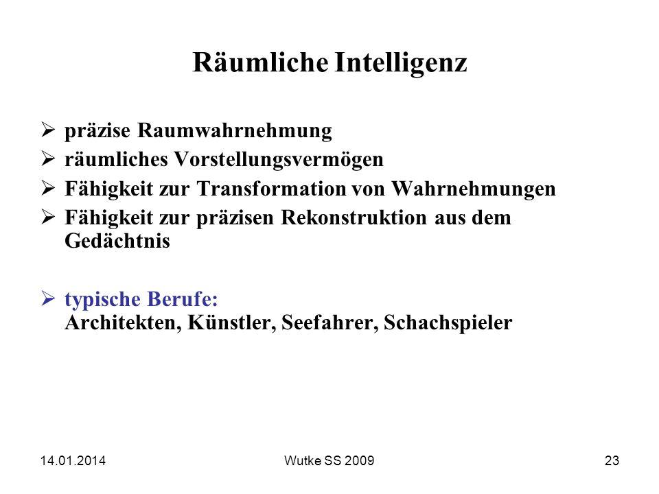 14.01.2014Wutke SS 200923 Räumliche Intelligenz präzise Raumwahrnehmung räumliches Vorstellungsvermögen Fähigkeit zur Transformation von Wahrnehmungen