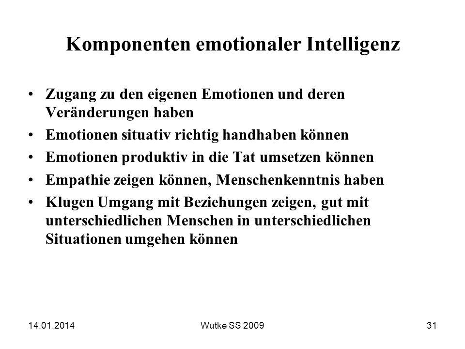 Komponenten emotionaler Intelligenz Zugang zu den eigenen Emotionen und deren Veränderungen haben Emotionen situativ richtig handhaben können Emotione
