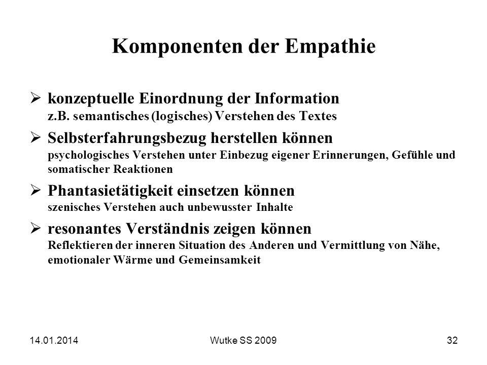 14.01.2014Wutke SS 200932 Komponenten der Empathie konzeptuelle Einordnung der Information z.B. semantisches (logisches) Verstehen des Textes Selbster