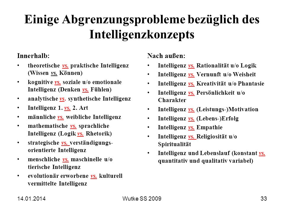 Einige Abgrenzungsprobleme bezüglich des Intelligenzkonzepts Innerhalb: theoretische vs. praktische Intelligenz (Wissen vs. Können) kognitive vs. sozi
