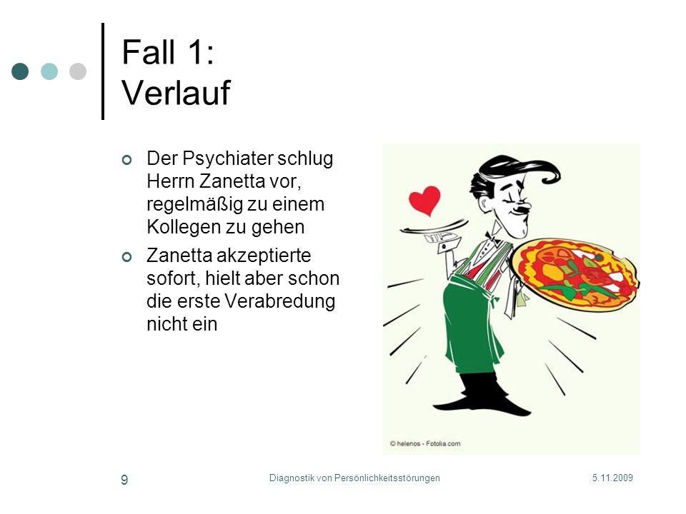 5.11.2009Diagnostik von Persönlichkeitsstörungen 9 Fall 1: Verlauf Der Psychiater schlug Herrn Zanetta vor, regelmäßig zu einem Kollegen zu gehen Zane
