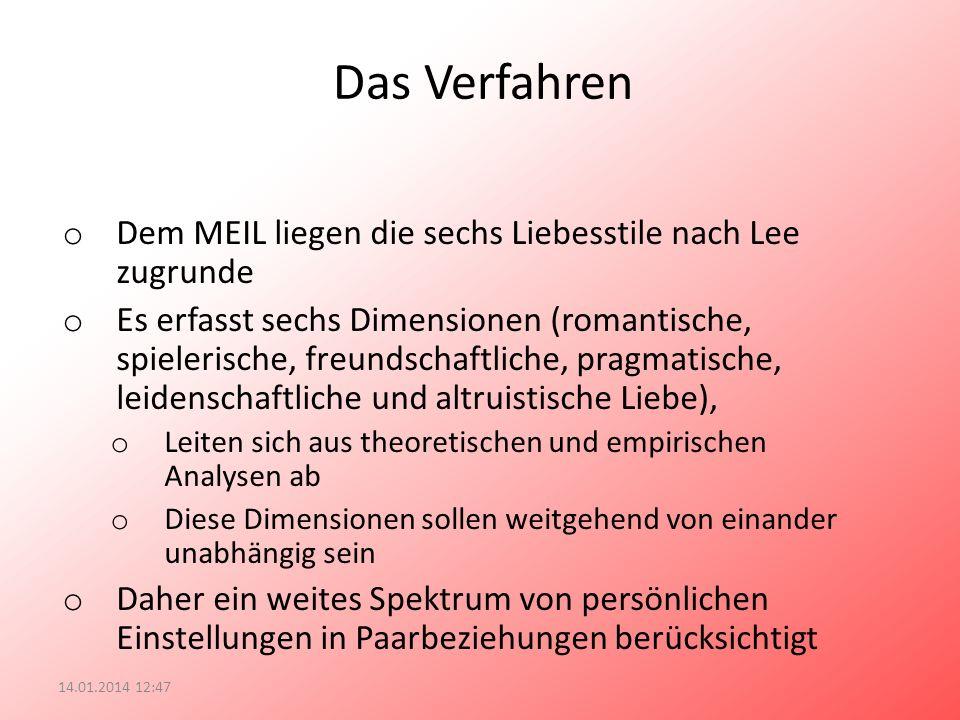 Das Verfahren o Dem MEIL liegen die sechs Liebesstile nach Lee zugrunde o Es erfasst sechs Dimensionen (romantische, spielerische, freundschaftliche,