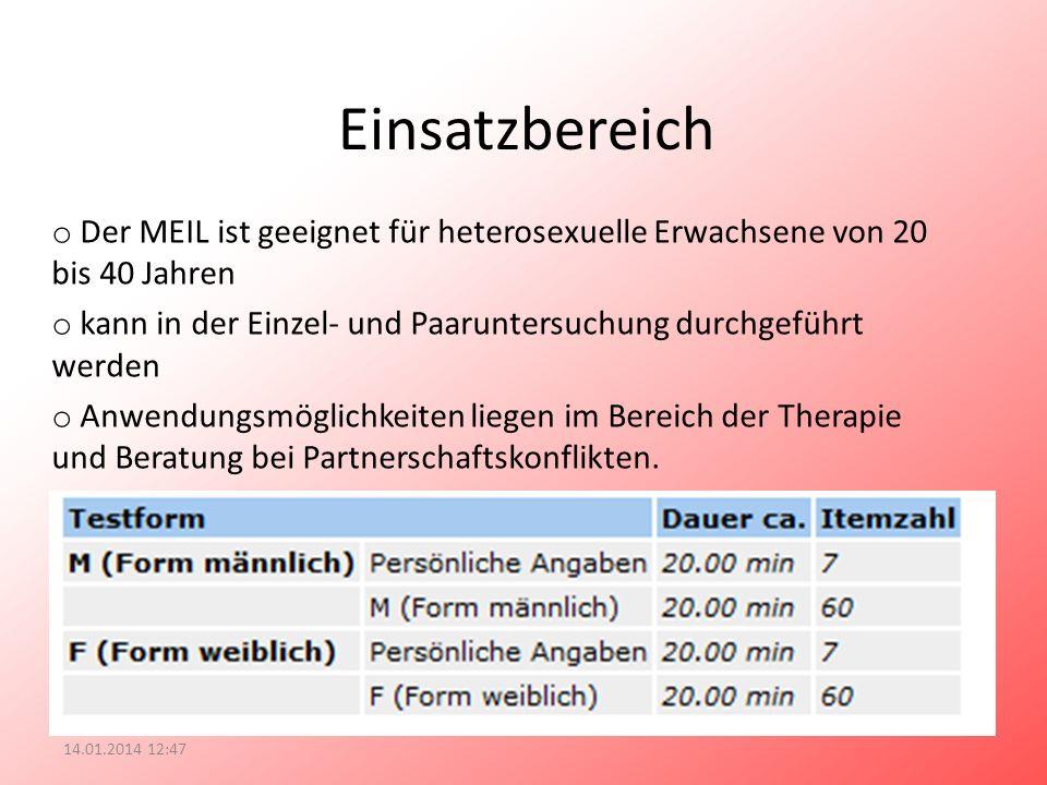 Einsatzbereich o Der MEIL ist geeignet für heterosexuelle Erwachsene von 20 bis 40 Jahren o kann in der Einzel- und Paaruntersuchung durchgeführt werd
