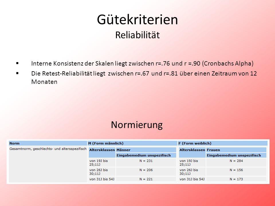 Gütekriterien Reliabilität Interne Konsistenz der Skalen liegt zwischen r=.76 und r =.90 (Cronbachs Alpha) Die Retest-Reliabilität liegt zwischen r=.6