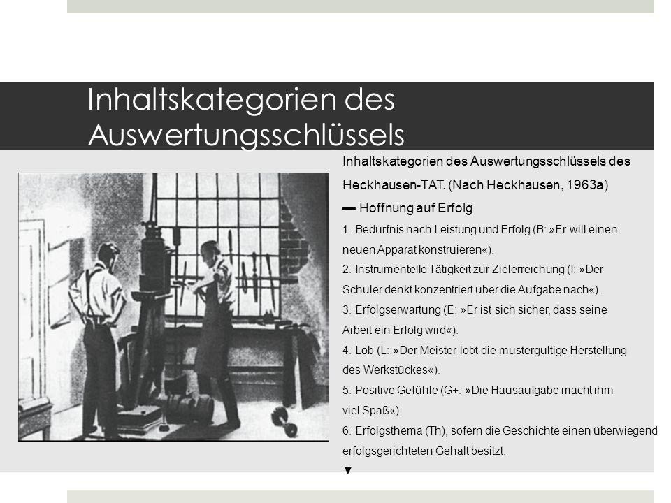 Inhaltskategorien des Auswertungsschlüssels Furcht vor Misserfolg 1.