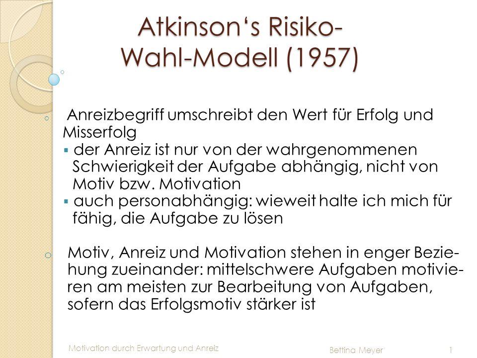 Motivation durch Erwartung und Anreiz Bettina Meyer 1 Atkinsons Risiko- Wahl-Modell (1957) o Anreizbegriff umschreibt den Wert für Erfolg und Misserfo
