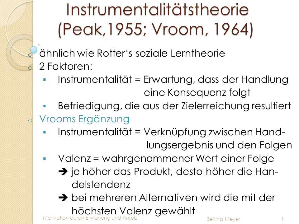 Motivation durch Erwartung und Anreiz Bettina Meyer 1 Instrumentalitätstheorie (Peak,1955; Vroom, 1964) Instrumentalitätstheorie (Peak,1955; Vroom, 19