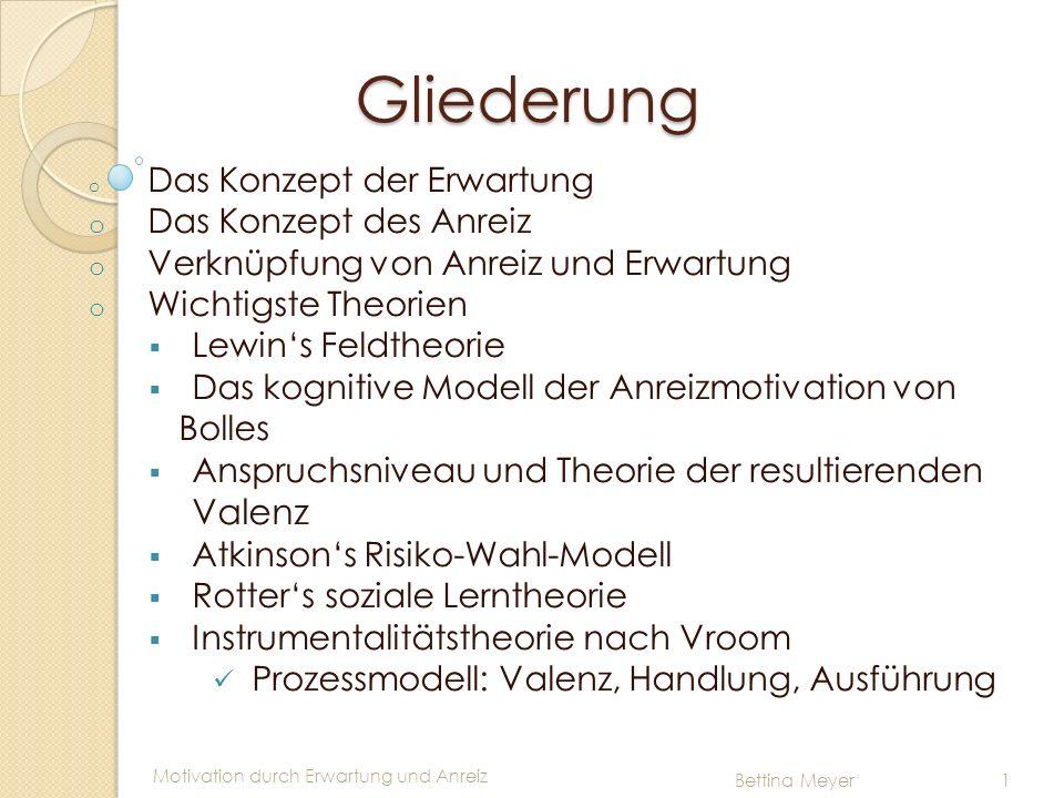 Motivation durch Erwartung und Anreiz Bettina Meyer 1 Prozessmodell (Vroom) Prozessmodell (Vroom) o Valenzmodell : erklärt wertmäßige Situations beurteilung (bspw.