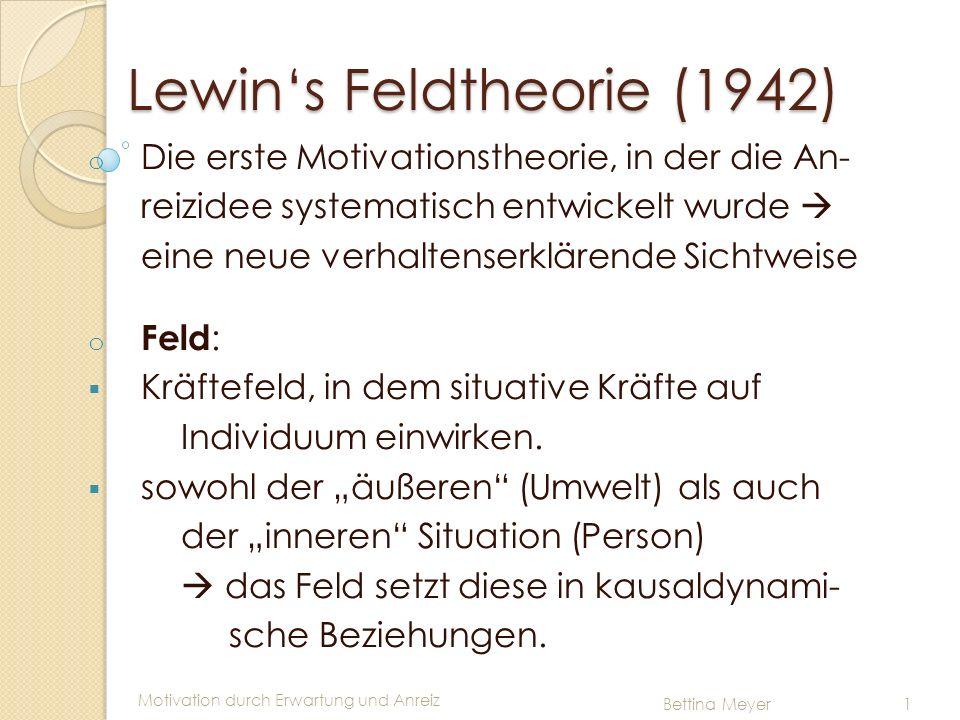 Motivation durch Erwartung und Anreiz Bettina Meyer 1 Lewins Feldtheorie (1942) o Die erste Motivationstheorie, in der die An- reizidee systematisch e