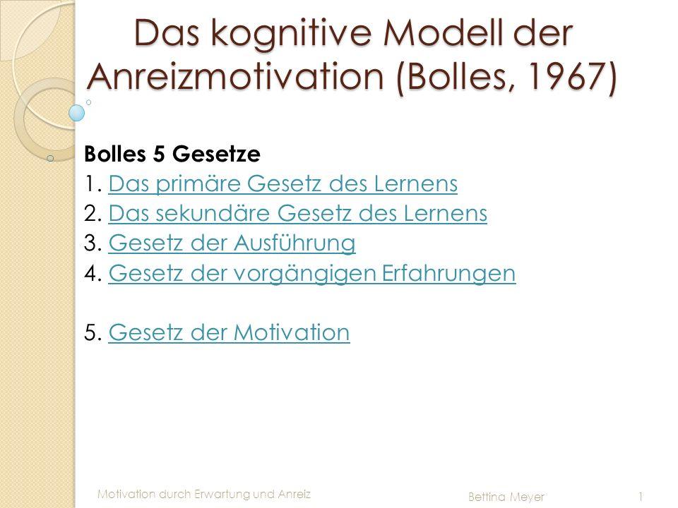 Motivation durch Erwartung und Anreiz Bettina Meyer 1 Das kognitive Modell der Anreizmotivation (Bolles, 1967) o Bolles 5 Gesetze 1. Das primäre Geset