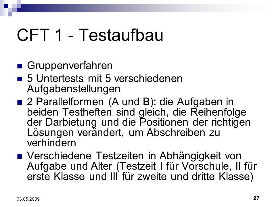 27 03.05.2009 CFT 1 - Testaufbau Gruppenverfahren 5 Untertests mit 5 verschiedenen Aufgabenstellungen 2 Parallelformen (A und B): die Aufgaben in beid