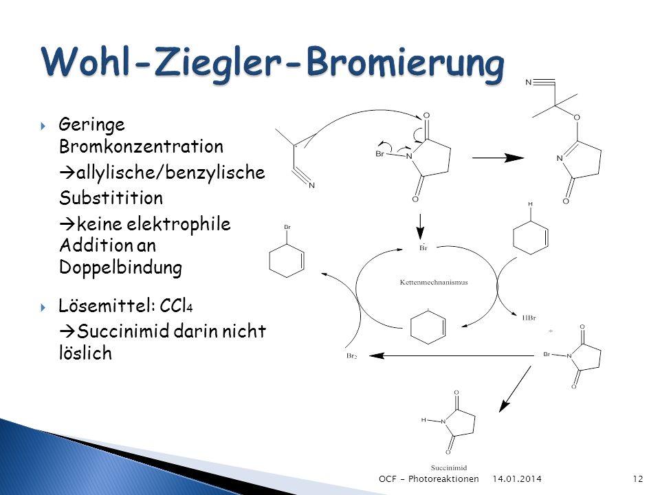 Geringe Bromkonzentration allylische/benzylische Substitition keine elektrophile Addition an Doppelbindung Lösemittel: CCl 4 Succinimid darin nicht lö