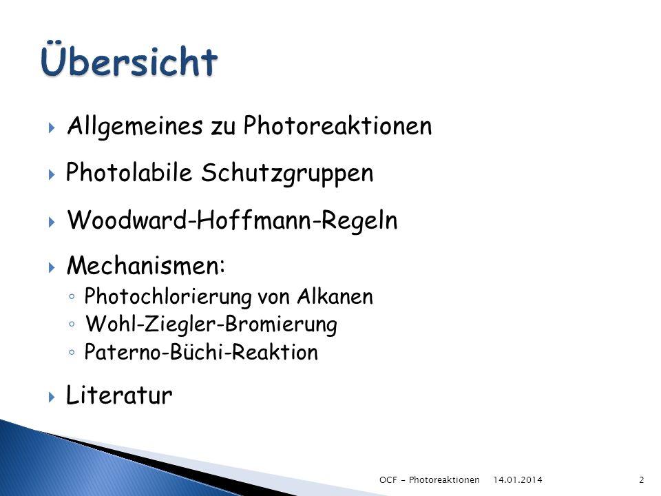 Allgemeines zu Photoreaktionen Photolabile Schutzgruppen Woodward-Hoffmann-Regeln Mechanismen: Photochlorierung von Alkanen Wohl-Ziegler-Bromierung Pa