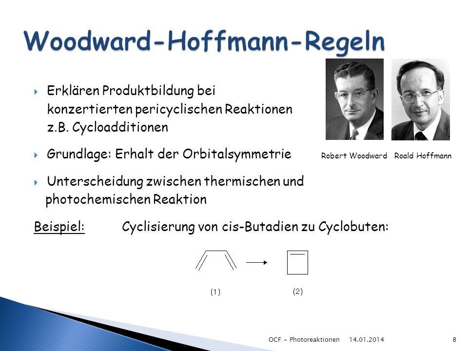 Erklären Produktbildung bei konzertierten pericyclischen Reaktionen z.B. Cycloadditionen Grundlage: Erhalt der Orbitalsymmetrie Robert Woodward Roald