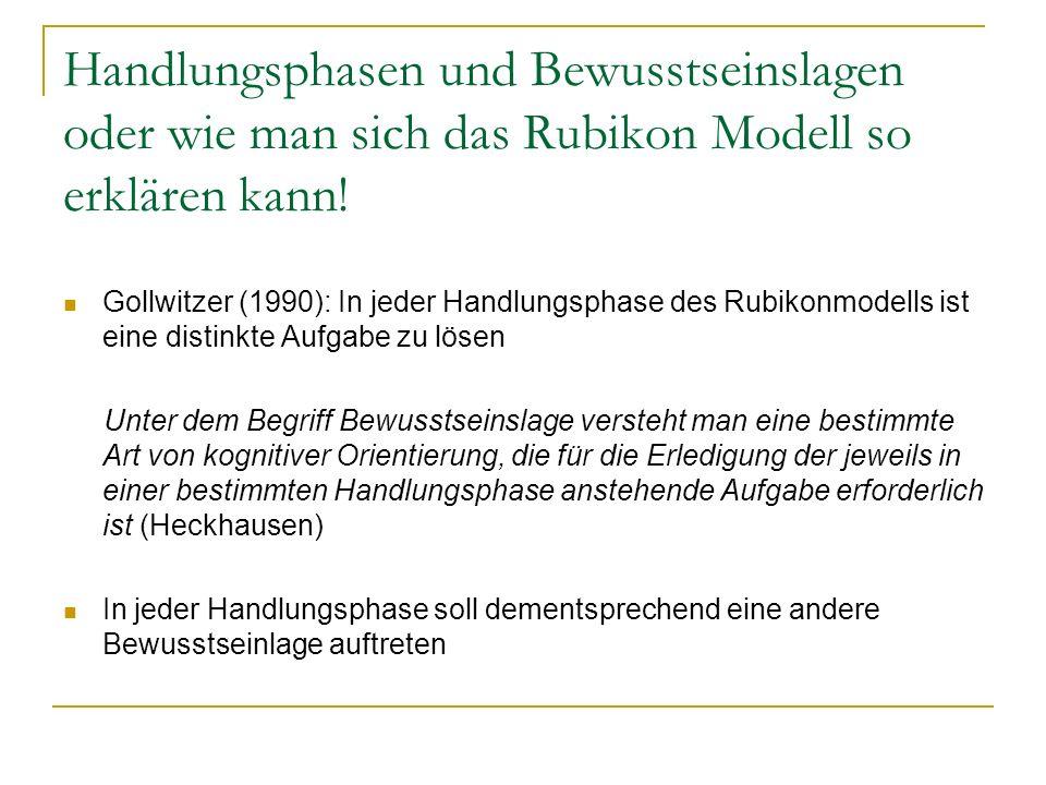 Handlungsphasen und Bewusstseinslagen oder wie man sich das Rubikon Modell so erklären kann! Gollwitzer (1990): In jeder Handlungsphase des Rubikonmod