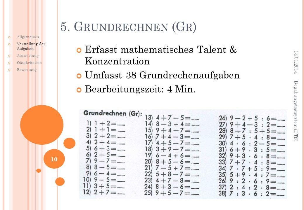 Erfasst mathematisches Talent & Konzentration Umfasst 38 Grundrechenaufgaben Bearbeitungszeit: 4 Min. 5. G RUNDRECHNEN (G R ) 14.01.2014 Begabungstest