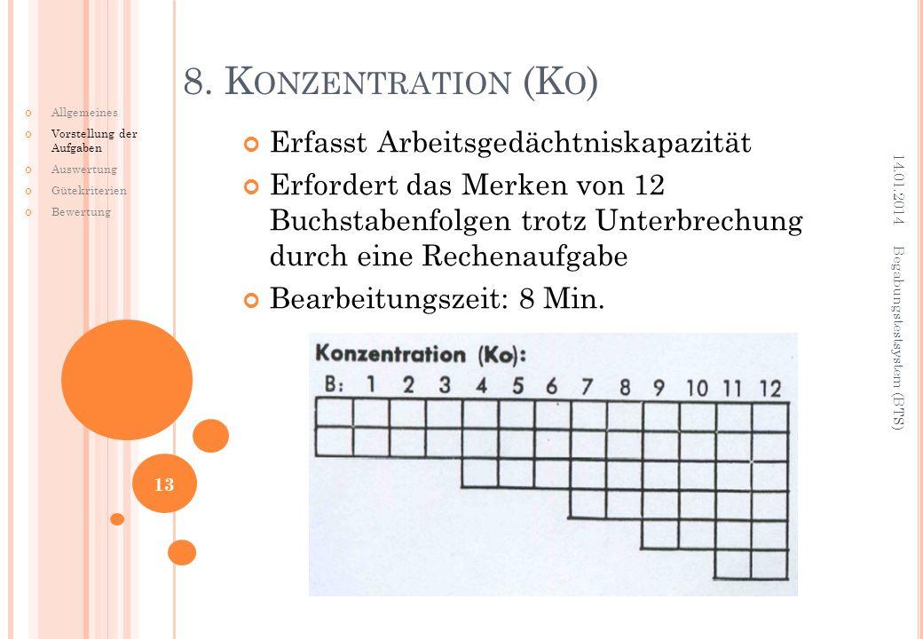Erfasst Arbeitsgedächtniskapazität Erfordert das Merken von 12 Buchstabenfolgen trotz Unterbrechung durch eine Rechenaufgabe Bearbeitungszeit: 8 Min.