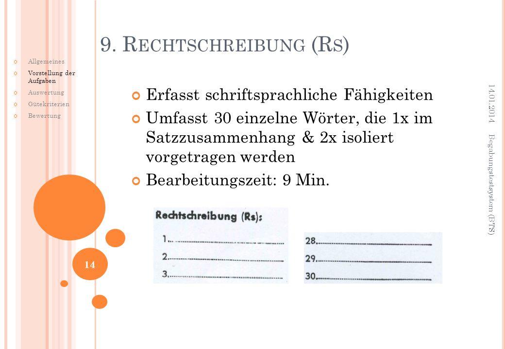 Erfasst schriftsprachliche Fähigkeiten Umfasst 30 einzelne Wörter, die 1x im Satzzusammenhang & 2x isoliert vorgetragen werden Bearbeitungszeit: 9 Min