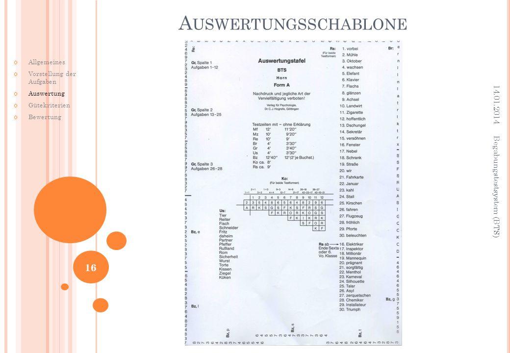A USWERTUNGSSCHABLONE Allgemeines Vorstellung der Aufgaben Auswertung Gütekriterien Bewertung 14.01.2014 Begabungstestsystem (BTS) 16