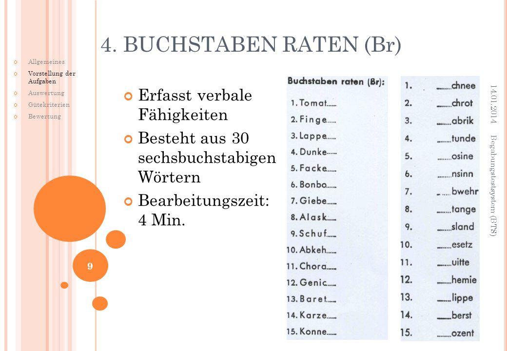Erfasst verbale Fähigkeiten Besteht aus 30 sechsbuchstabigen Wörtern Bearbeitungszeit: 4 Min. 4. BUCHSTABEN RATEN (Br) 14.01.2014 Begabungstestsystem