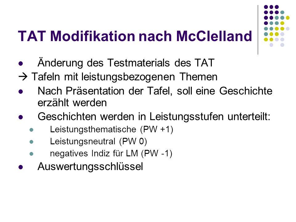 TAT Modifikation nach McClelland Änderung des Testmaterials des TAT Tafeln mit leistungsbezogenen Themen Nach Präsentation der Tafel, soll eine Geschi