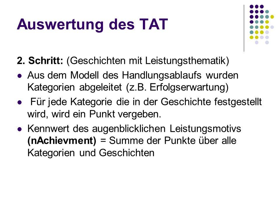 Auswertung des TAT 2. Schritt: (Geschichten mit Leistungsthematik) Aus dem Modell des Handlungsablaufs wurden Kategorien abgeleitet (z.B. Erfolgserwar
