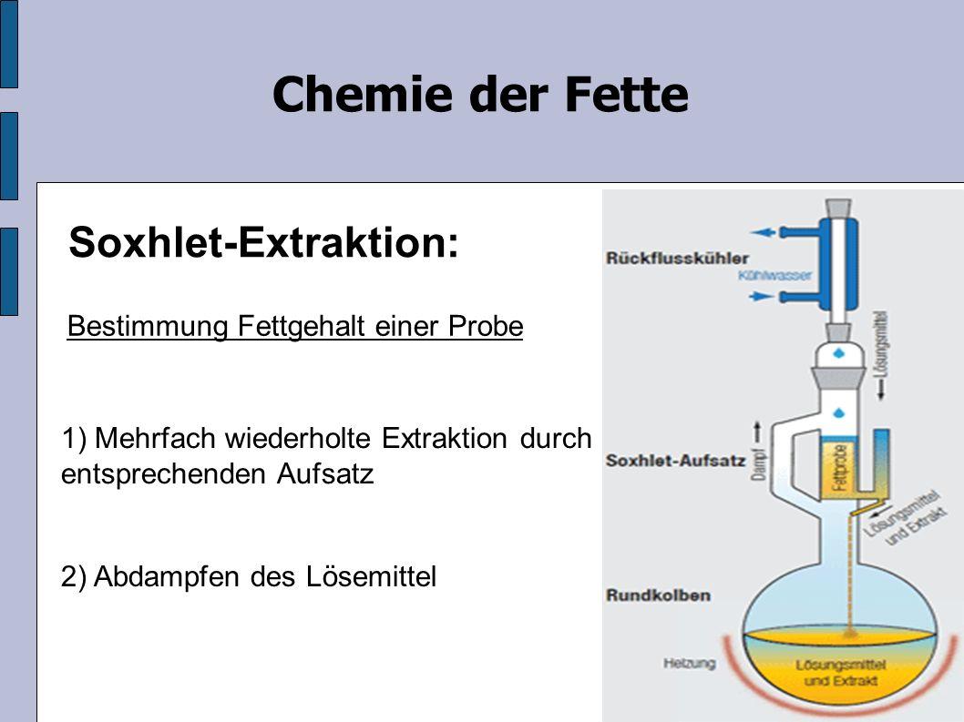 Soxhlet-Extraktion: 1) Mehrfach wiederholte Extraktion durch entsprechenden Aufsatz Chemie der Fette 2) Abdampfen des Lösemittel Bestimmung Fettgehalt einer Probe