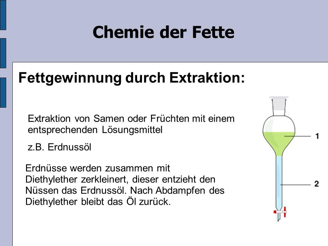 Chemie der Fette Fettgewinnung durch Extraktion: Extraktion von Samen oder Früchten mit einem entsprechenden Lösungsmittel z.B.