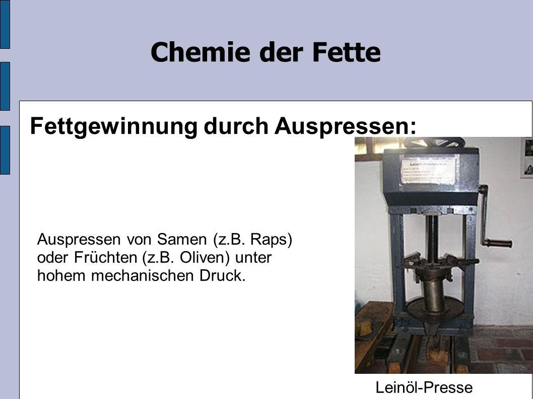 Chemie der Fette Fettgewinnung durch Auspressen: Auspressen von Samen (z.B.