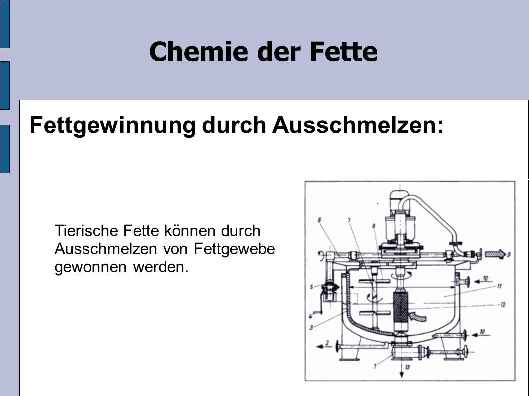 Chemie der Fette Fettgewinnung durch Ausschmelzen: Tierische Fette können durch Ausschmelzen von Fettgewebe gewonnen werden.