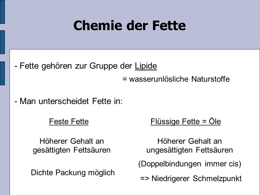 Chemie der Fette - Fette gehören zur Gruppe der Lipide = wasserunlösliche Naturstoffe - Man unterscheidet Fette in: Flüssige Fette = ÖleFeste Fette Höherer Gehalt an gesättigten Fettsäuren Höherer Gehalt an ungesättigten Fettsäuren (Doppelbindungen immer cis) => Niedrigerer Schmelzpunkt Dichte Packung möglich
