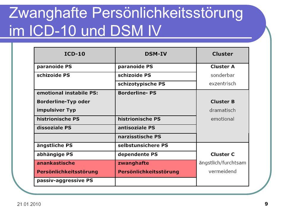 21.01.2010 9 Zwanghafte Persönlichkeitsstörung im ICD-10 und DSM IV