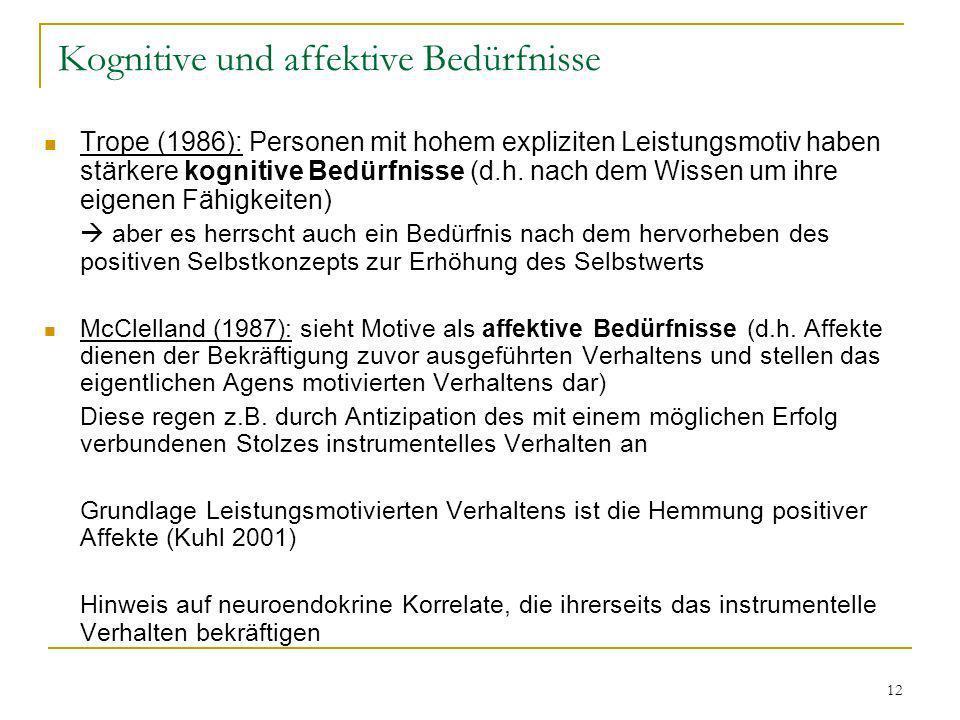 12 Kognitive und affektive Bedürfnisse Trope (1986): Personen mit hohem expliziten Leistungsmotiv haben stärkere kognitive Bedürfnisse (d.h. nach dem