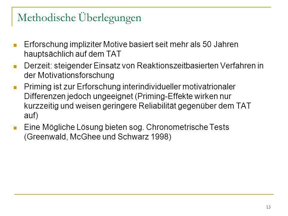 13 Methodische Überlegungen Erforschung impliziter Motive basiert seit mehr als 50 Jahren hauptsächlich auf dem TAT Derzeit: steigender Einsatz von Re