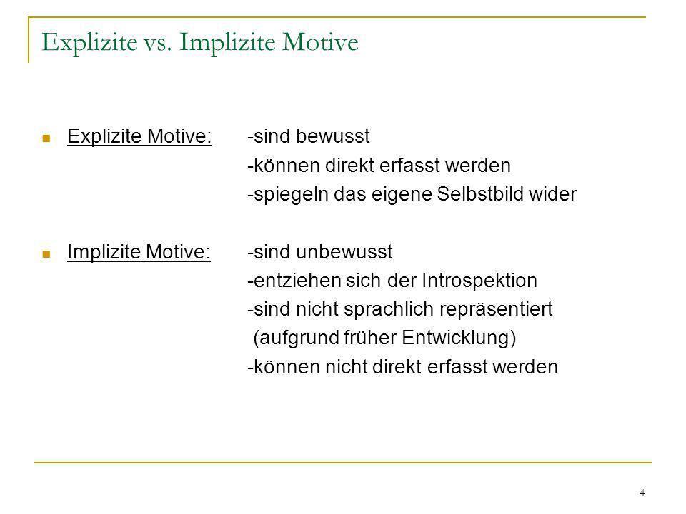 4 Explizite vs. Implizite Motive Explizite Motive:-sind bewusst -können direkt erfasst werden -spiegeln das eigene Selbstbild wider Implizite Motive:-