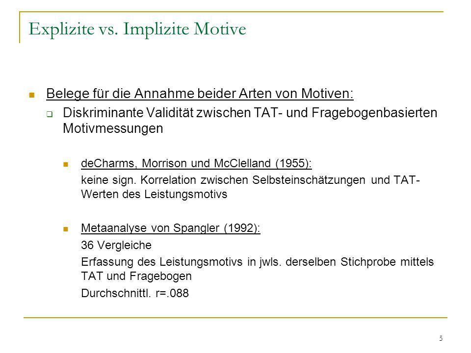 5 Explizite vs. Implizite Motive Belege für die Annahme beider Arten von Motiven: Diskriminante Validität zwischen TAT- und Fragebogenbasierten Motivm