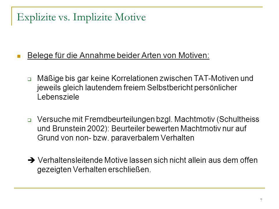 7 Explizite vs. Implizite Motive Belege für die Annahme beider Arten von Motiven: Mäßige bis gar keine Korrelationen zwischen TAT-Motiven und jeweils
