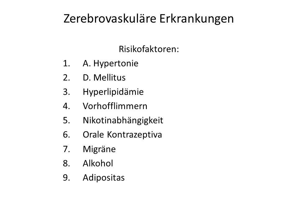 Zerebrovaskuläre Erkrankungen Risikofaktoren: 1.A. Hypertonie 2.D. Mellitus 3.Hyperlipidämie 4.Vorhofflimmern 5.Nikotinabhängigkeit 6.Orale Kontrazept