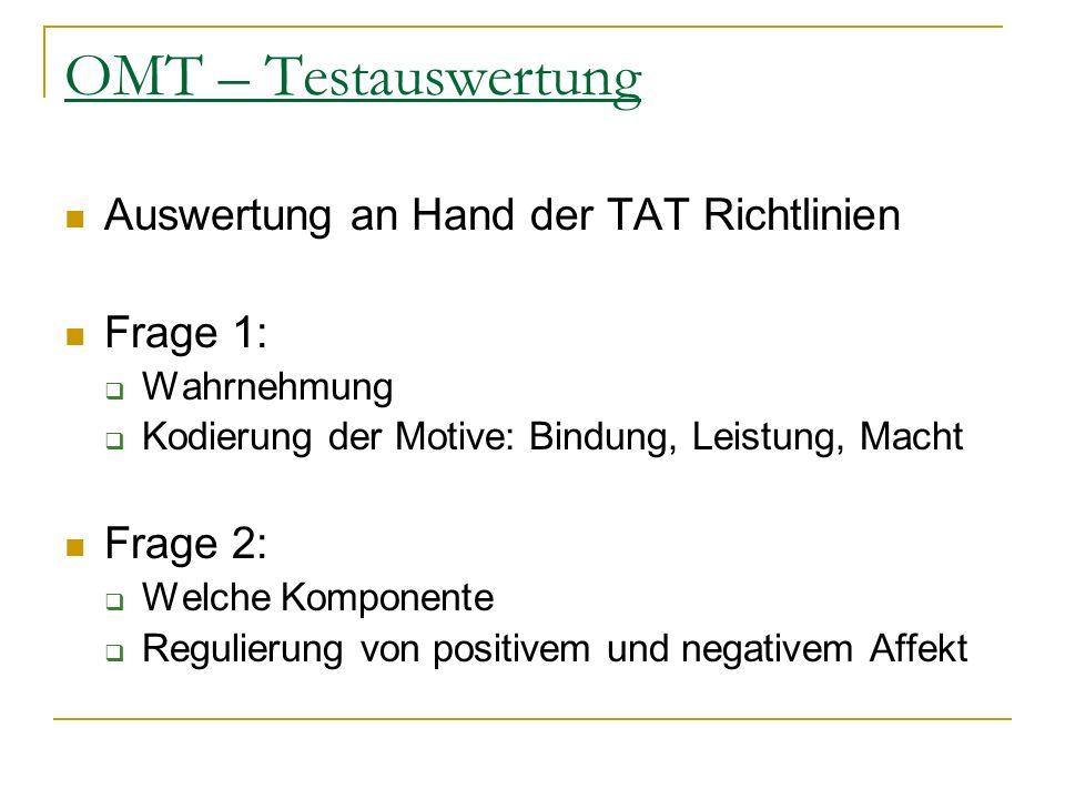 OMT – Testauswertung Auswertung an Hand der TAT Richtlinien Frage 1: Wahrnehmung Kodierung der Motive: Bindung, Leistung, Macht Frage 2: Welche Kompon